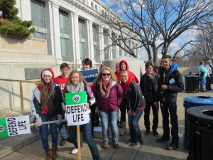 Left-Right: Sydney Childress, Anthony Bloome, Rachel Weaver, Laura Moore, Rianne Kladisf, Molly Maschka, Megan Perkins, Cao Nyuen, and Jose Gonzalez preparing to attend the Washington D.C. March for Life event
