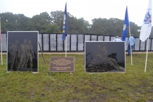 A memorial wall was built at Operation LZ to honor veterans. Photo by Courtney Swessinger