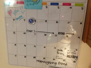 Using a white board calendar can help students stay organized in the chaos of college life. Photo by Megan Brandrup