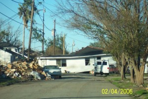 Chalmette, LA after Hurricane Katrina hit. A home which once stood on a solid foundation now sits in the middle of a road. Photo courtesy Emily Walker