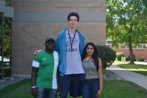 Height difference betweenSaheed Olaosebikan, Gabriel Muñoz Labaleta and Erisha Menon. Photo By Dina Selviana