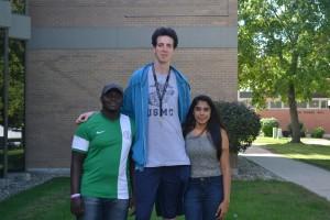 Height difference betweenSaheed Olaosebikan, Gabriel Muñoz Labaleta and Erisha Menon. Photo By Dina Selviana