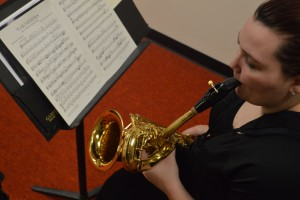 Keri Ladigo practices in preparation for Waldorf Band Tour. Photo by Darien Walsh