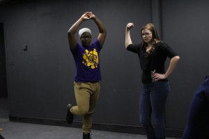 Marlon Banks and Jackie Imsande play an improv game during the Waldorf College recent Fine Arts Weekend. Photo courtesy Maggie Kretzmann