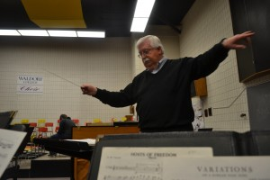 David Rutt directs  the band in preparation for the Waldorf Band Tour. Photo by Ashleigh Stingley