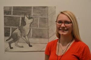 Rachel Jordahl by her drawing. Photo by Rachel Lynch