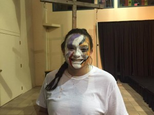 Senior Shaye Sutherland in costume for her senior thesis 'Hope Mime.'