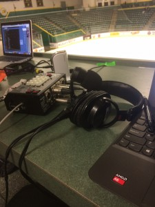 The radio booth setup high above the Berry Events Center in Marquette. Photo courtesy Damon Helgevold