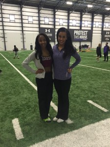 Tyra Brown with veteran cheerleader mentor. Photo by Victoria Carra