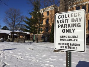 The visitor parking areas are often locations misused creating parking issues at Waldorf College. Photo by Andrew Larsen